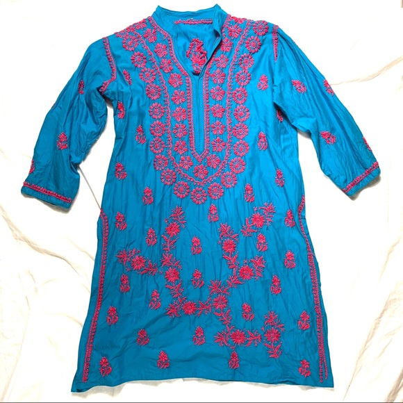 Made in India Dresses & Skirts - Blue and Pink Tunic Dress Made In India Size 44